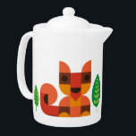 """Little Fox Teapot- Teapot with cute Fox print<br><div class=""""desc"""">Cute Teapot with retro animal and leaf print by © Kingakong.com.  Kingakong is an illustrator & designer currently living in Germany. Her work is inspired by nature and her overall happy childhood,  growing up surrounded by adorable seventies-design.</div>"""