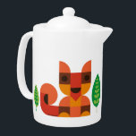 "Little Fox Teapot- Teapot with cute Fox print<br><div class=""desc"">Cute Teapot with retro animal and leaf print by © Kingakong.com.  Kingakong is an illustrator & designer currently living in Germany. Her work is inspired by nature and her overall happy childhood,  growing up surrounded by adorable seventies-design.</div>"
