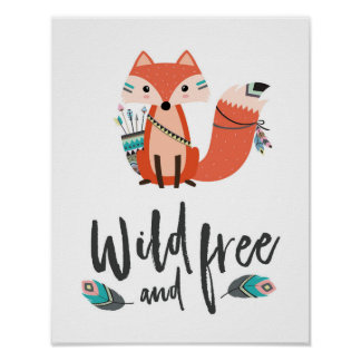 Little Fox Wild and Free Poster