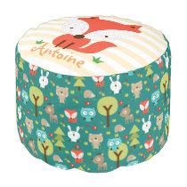 Little Fox Woodland Friends Personalized Pouf