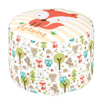 Little Fox Woodland Friends Personalized Pouf