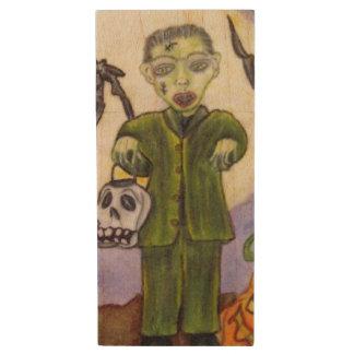 Little Frankenstein Skull Bats Moon Halloween Wood USB 2.0 Flash Drive