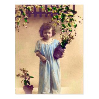 Little French Girl Vintage Postcard