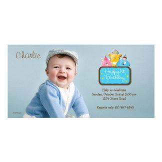 Little Friends - First Birthday Photo Invitation Photo Cards