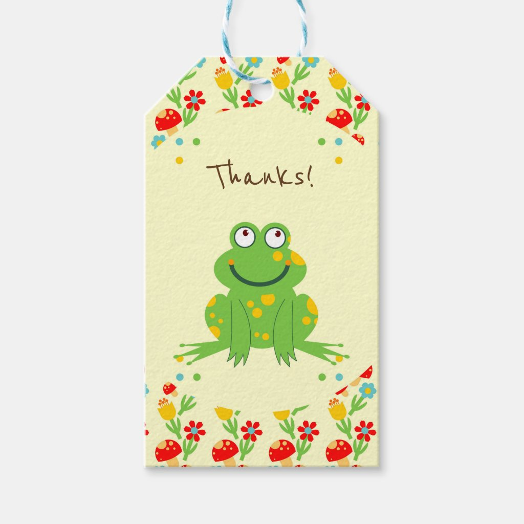 Little frog baby first birthday party gift tags