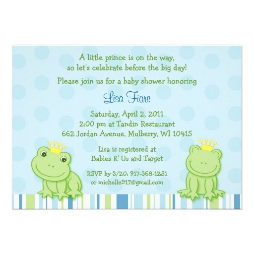 little frog prince baby shower invitations 5 x 7 invitation card