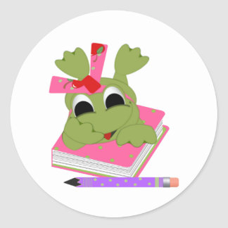 Little Frog With Book and Pencil Classic Round Sticker