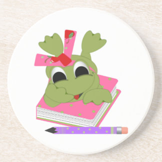 Little Frog With Book and Pencil Coaster