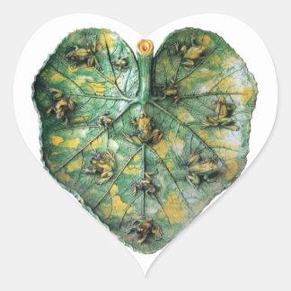 LITTLE FROGS ON A GREEN LEAF HEART STICKER