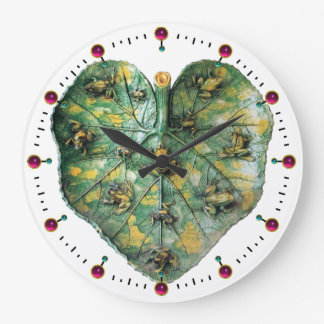 LITTLE FROGS ON A GREEN LEAF RED RUBY, White Large Clock