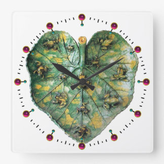 LITTLE FROGS ON A GREEN LEAF RED RUBY, White Square Wall Clock