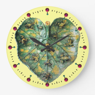 LITTLE FROGS ON A GREEN LEAF RED RUBY, Yellow Large Clock