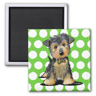 Little Gent Yorkie 2 Inch Square Magnet
