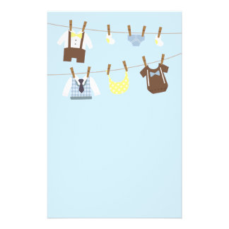 Little Gentleman Baby Boy Clothes on Cloth lines Stationery