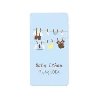 Little Gentleman Baby Boy Clothesline Address Label