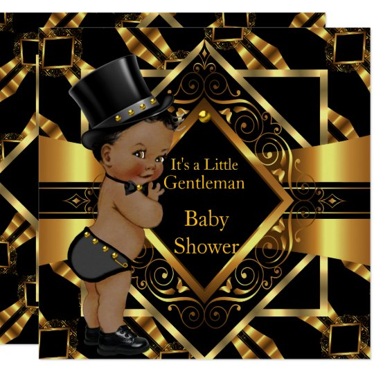 Little Gentleman Baby Shower Gold Black Ethnic Card Zazzle