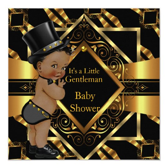 Little Gentleman Baby Shower Gold Black Ethnic Card