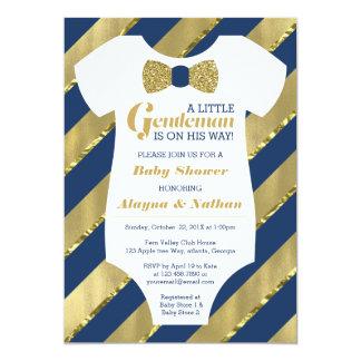 Little Gentleman Baby Shower Invitation, Faux Gold Card
