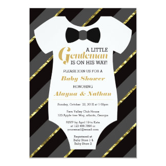 Little Gentleman Baby Shower Invitation, Faux Gold Card