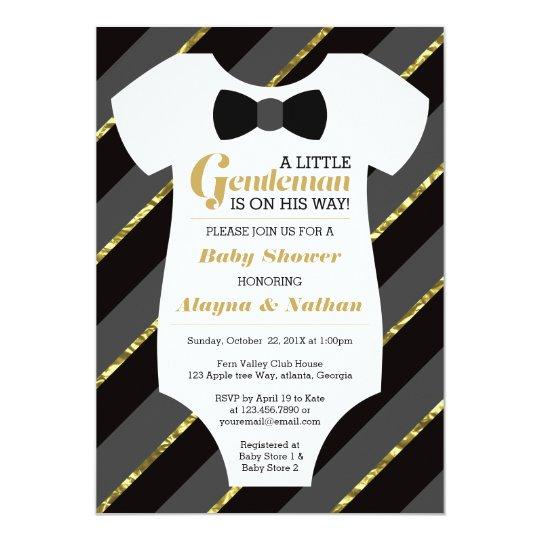Little gentleman baby shower invitation faux gold card zazzle little gentleman baby shower invitation faux gold card filmwisefo