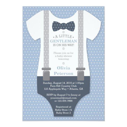 Little Gentleman Baby Shower Invite, Blue, Gray Card