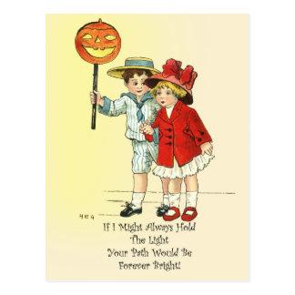 Little Gentleman Carrying The Light on Halloween Postcard