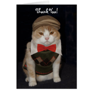 Little Gentleman Cat in Argyle Sweater Thank You Greeting Card