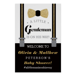 Little Gentleman Welcome Sign Poster, Baby Shower