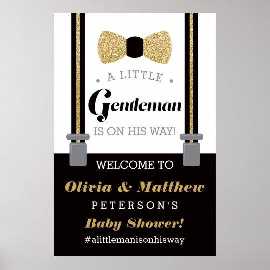 Little Gentleman Welcome Sign Poster Baby Shower Zazzle