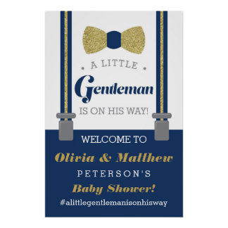 Little Gentleman Welcome Sign Poster, Faux Glitter