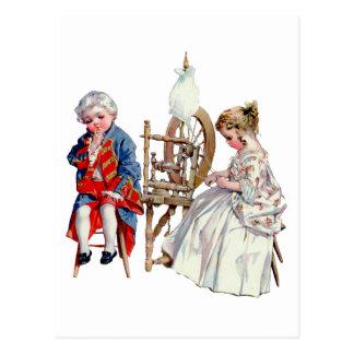 Little George and Martha Washington Postcard