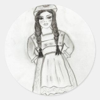Little German Girl Classic Round Sticker