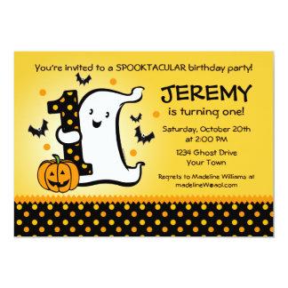 "Little Ghost 1st Birthday 5"" X 7"" Invitation Card"