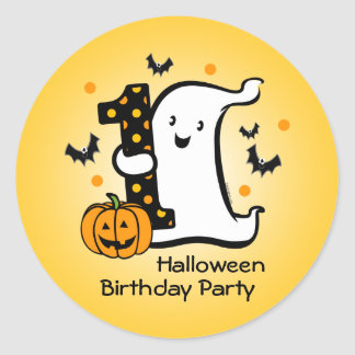 Little Ghost 1st Birthday Round Stickers
