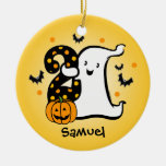 Little Ghost 2nd Birthday Double-Sided Ceramic Round Christmas Ornament