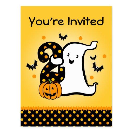 Little Ghost 2nd Birthday Postcard Invitation