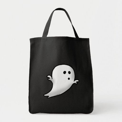 Little ghost grocery tote bag