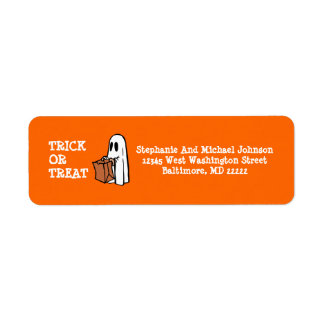 Little Ghost Trick or Treat Halloween Candy bag Label