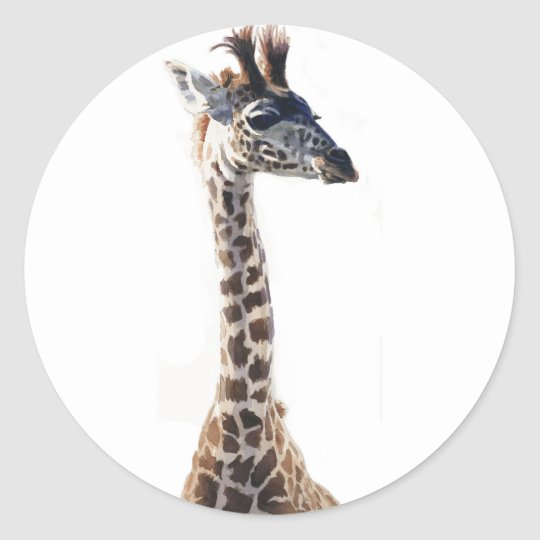 """Little Giraffe"" Wildlife Animal Watercolor Classic Round Sticker"