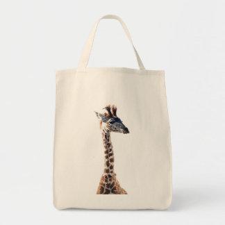 """Little Giraffe"" Wildlife Animal Watercolor Tote Bag"