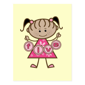Little Girl 5th Birthday Tshirts and Gifts Postcard