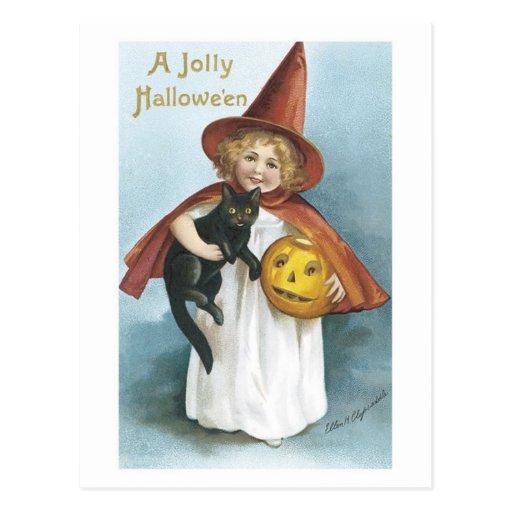 Little Girl and Black Cat Jolly Halloween Postcard