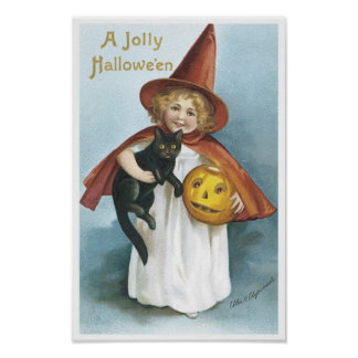 Little Girl and Black Cat Jolly Halloween Poster