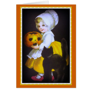 Little Girl and Black Cat Vintage Halloween Card