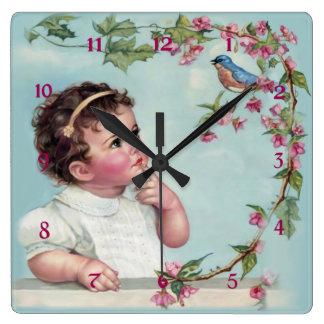Little Girl and  Blue Bird Square Wallclocks