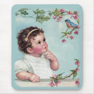Little Girl and Blue Bird Mouse Pad
