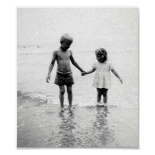 Little Girl And Boy Holding Hands Small Poster Zazzle Com