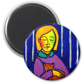 Little Girl and Cat by Piliero 2 Inch Round Magnet