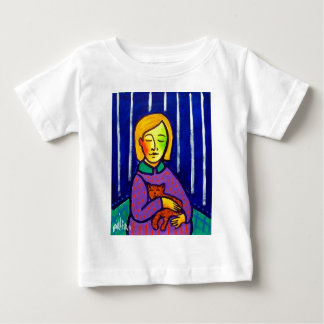 Little Girl and Cat by Piliero Baby T-Shirt