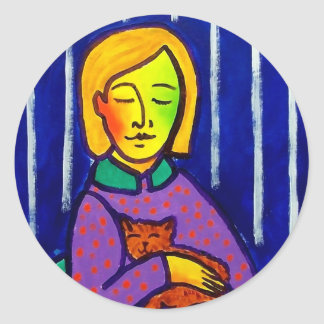 Little Girl and Cat by Piliero Classic Round Sticker